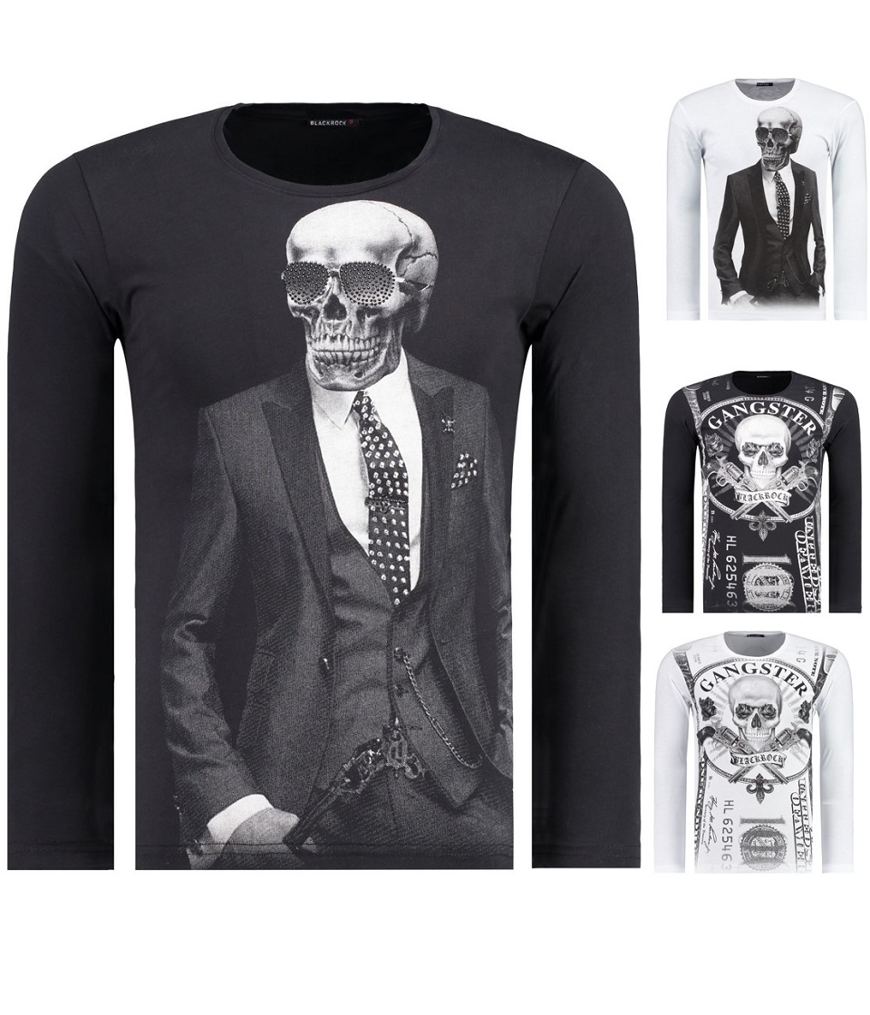 herren longsleeve langarmshirt t shirt sweatshirt slim fit totenkopf skull s 2xl ebay. Black Bedroom Furniture Sets. Home Design Ideas